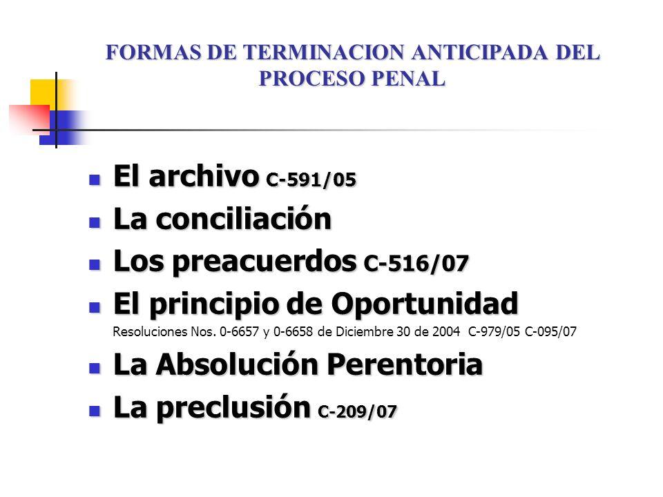 El archivo C-591/05 El archivo C-591/05 La conciliación La conciliación Los preacuerdos C-516/07 Los preacuerdos C-516/07 El principio de Oportunidad