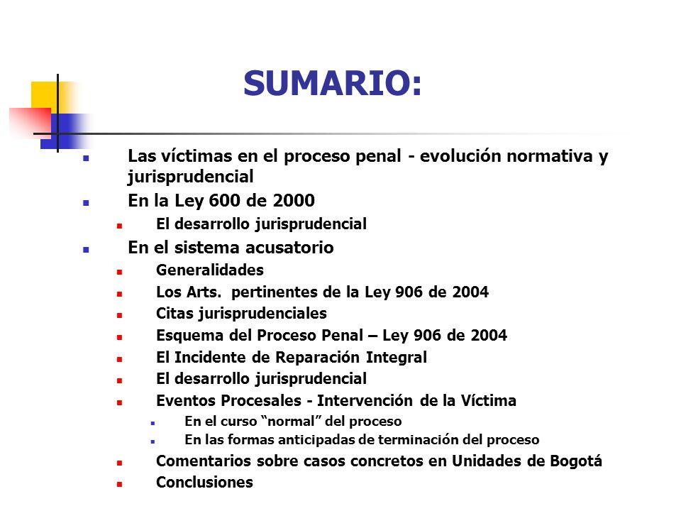 SUMARIO: Las víctimas en el proceso penal - evolución normativa y jurisprudencial En la Ley 600 de 2000 El desarrollo jurisprudencial En el sistema ac