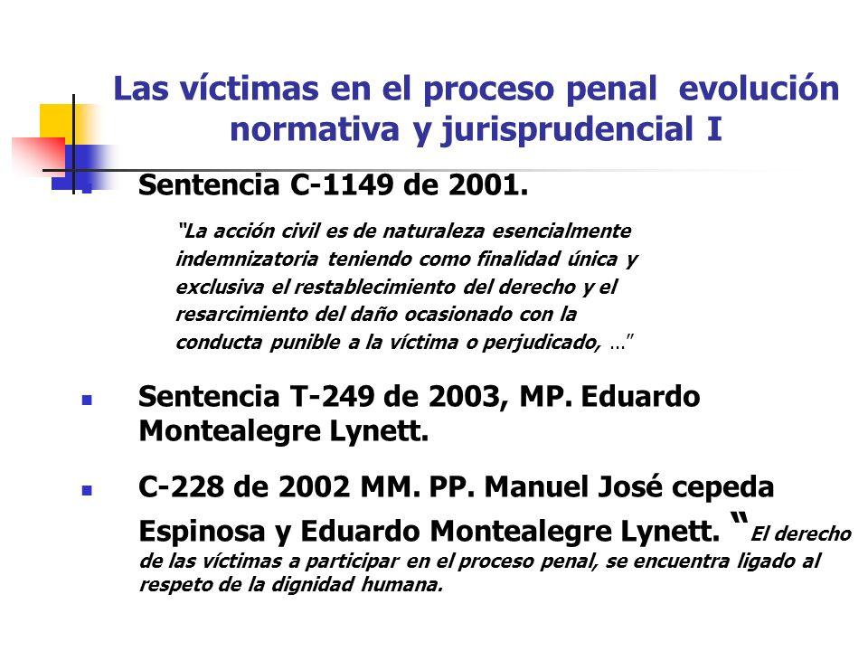 Las víctimas en el proceso penal evolución normativa y jurisprudencial I Sentencia C-1149 de 2001. La acción civil es de naturaleza esencialmente inde