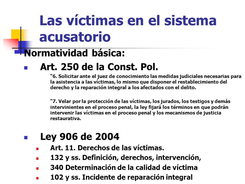 Las víctimas en el sistema acusatorio Normatividad básica: Art. 250 de la Const. Pol. 6. Solicitar ante el juez de conocimiento las medidas judiciales
