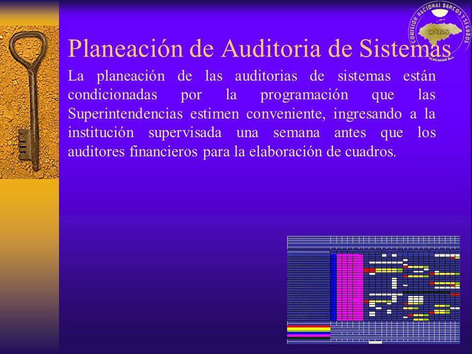 Planeación de Auditoria de Sistemas La planeación de las auditorias de sistemas están condicionadas por la programación que las Superintendencias esti