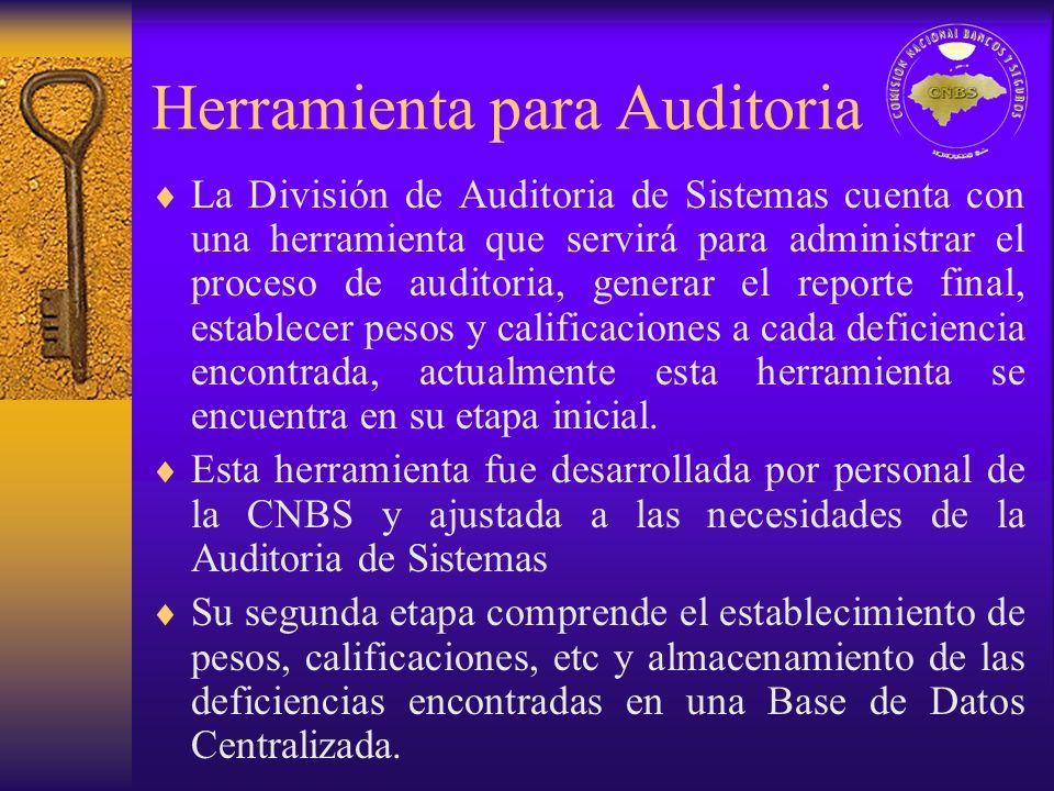 Herramienta para Auditoria La División de Auditoria de Sistemas cuenta con una herramienta que servirá para administrar el proceso de auditoria, gener