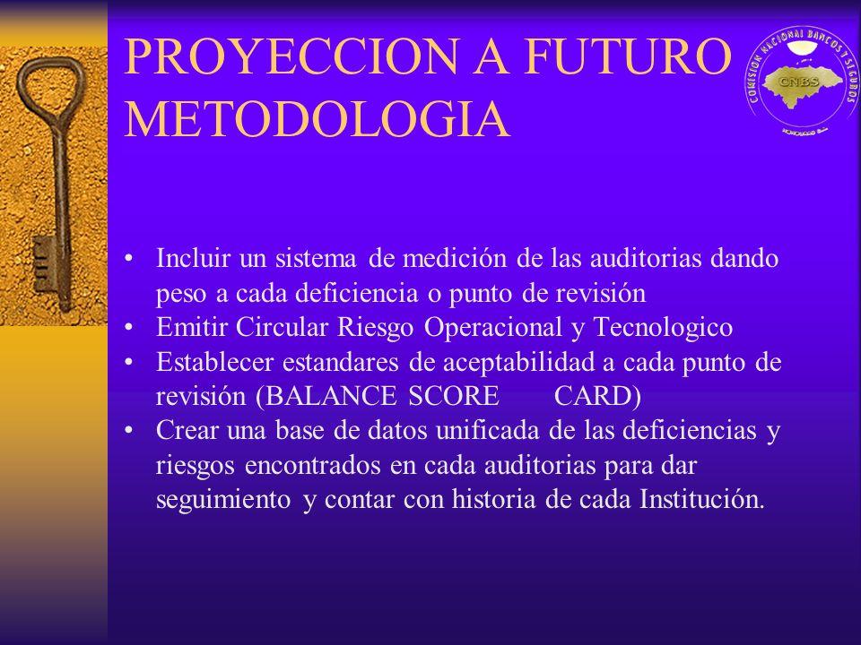 PROYECCION A FUTURO METODOLOGIA Incluir un sistema de medición de las auditorias dando peso a cada deficiencia o punto de revisión Emitir Circular Rie