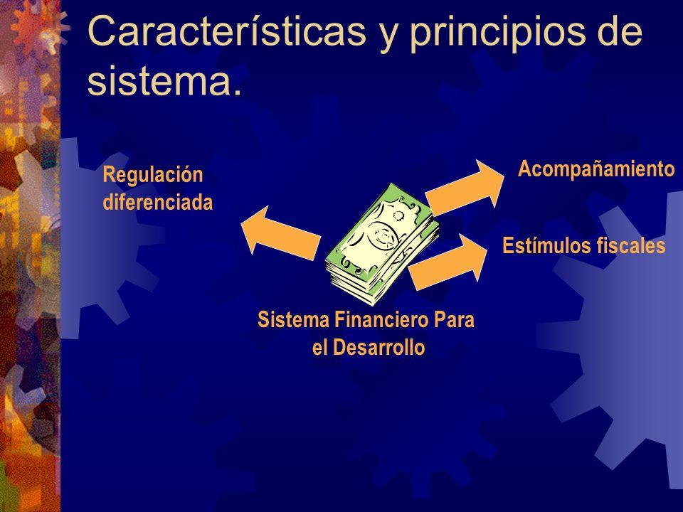 Características y principios de sistema. Sistema Financiero Para el Desarrollo Regulación diferenciada Estímulos fiscales Acompañamiento