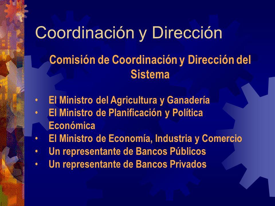 Coordinación y Dirección Comisión de Coordinación y Dirección del Sistema El Ministro del Agricultura y Ganadería El Ministro de Planificación y Polít
