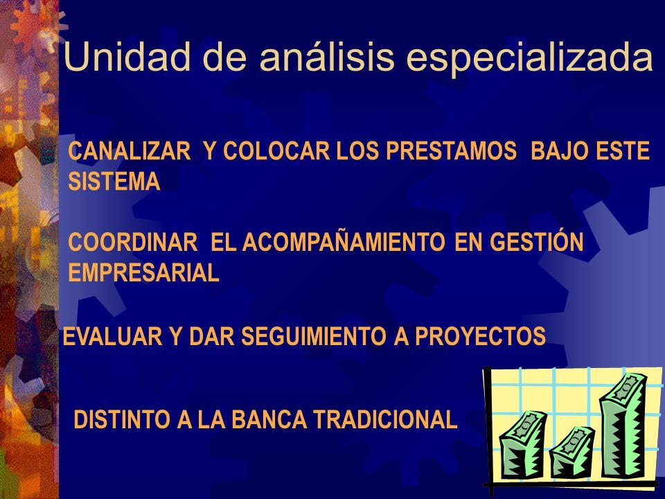 Unidad de análisis especializada CANALIZAR Y COLOCAR LOS PRESTAMOS BAJO ESTE SISTEMA COORDINAR EL ACOMPAÑAMIENTO EN GESTIÓN EMPRESARIAL EVALUAR Y DAR SEGUIMIENTO A PROYECTOS DISTINTO A LA BANCA TRADICIONAL