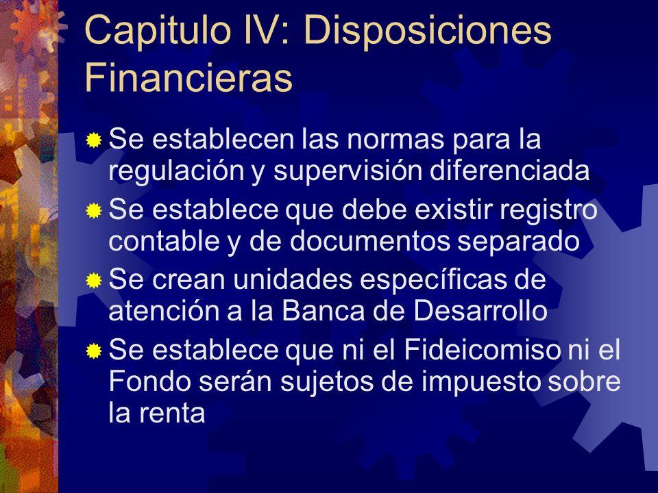 Capitulo IV: Disposiciones Financieras Se establecen las normas para la regulación y supervisión diferenciada Se establece que debe existir registro c