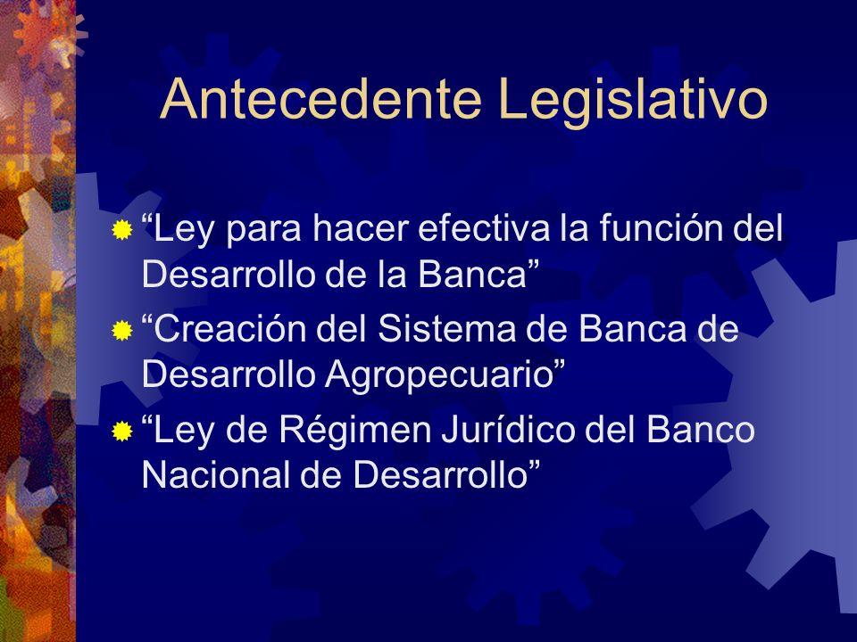 Antecedente Legislativo Ley para hacer efectiva la función del Desarrollo de la Banca Creación del Sistema de Banca de Desarrollo Agropecuario Ley de Régimen Jurídico del Banco Nacional de Desarrollo
