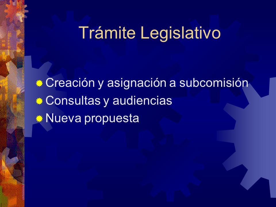 Trámite Legislativo Creación y asignación a subcomisión Consultas y audiencias Nueva propuesta