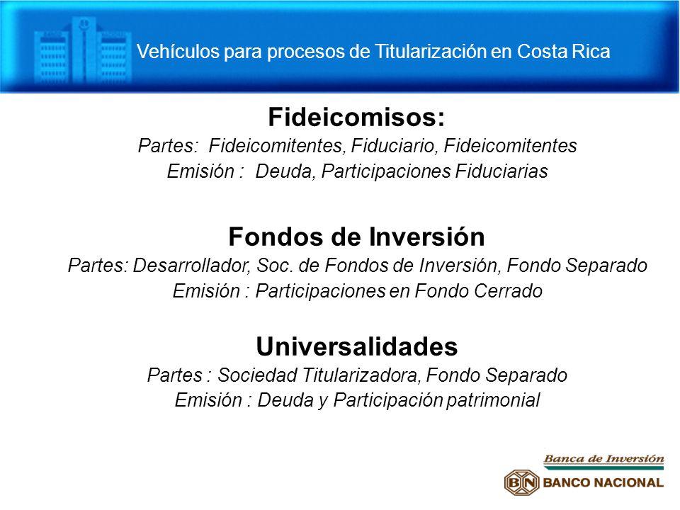 Vehículos para procesos de Titularización en Costa Rica Fideicomisos: Partes: Fideicomitentes, Fiduciario, Fideicomitentes Emisión : Deuda, Participac