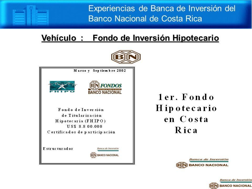 Vehículo : Fondo de Inversión Hipotecario Experiencias de Banca de Inversión del Banco Nacional de Costa Rica