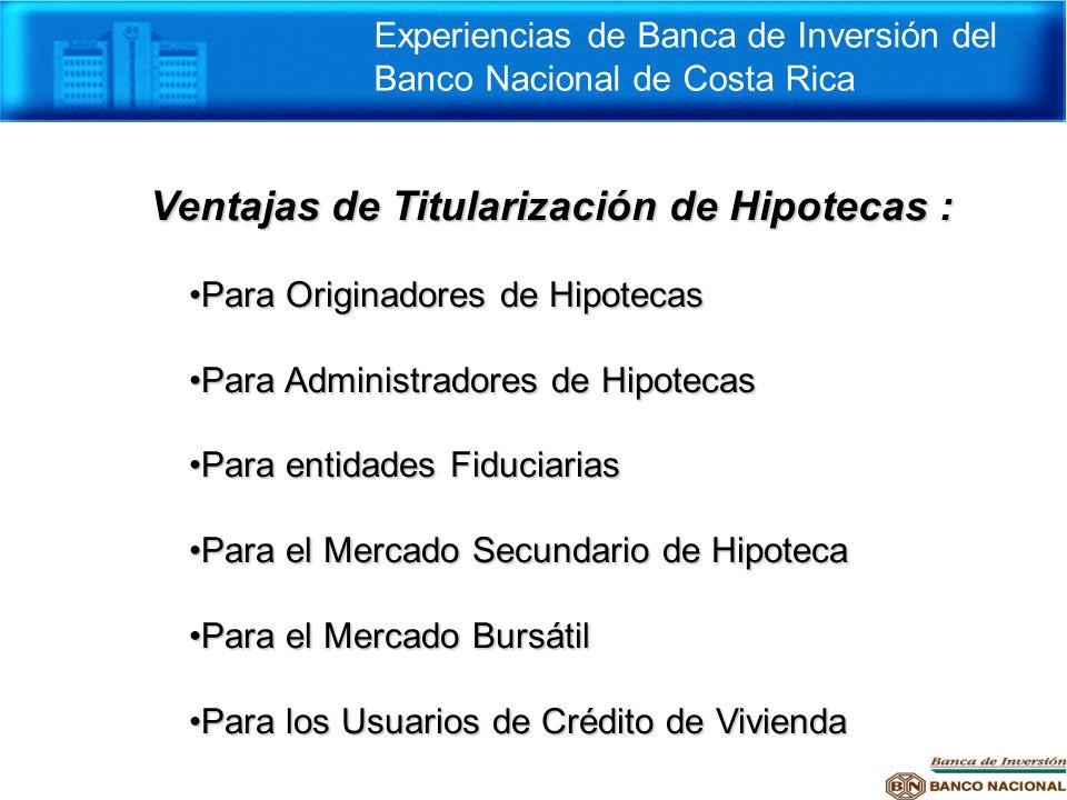Ventajas de Titularización de Hipotecas : Para Originadores de HipotecasPara Originadores de Hipotecas Para Administradores de HipotecasPara Administr