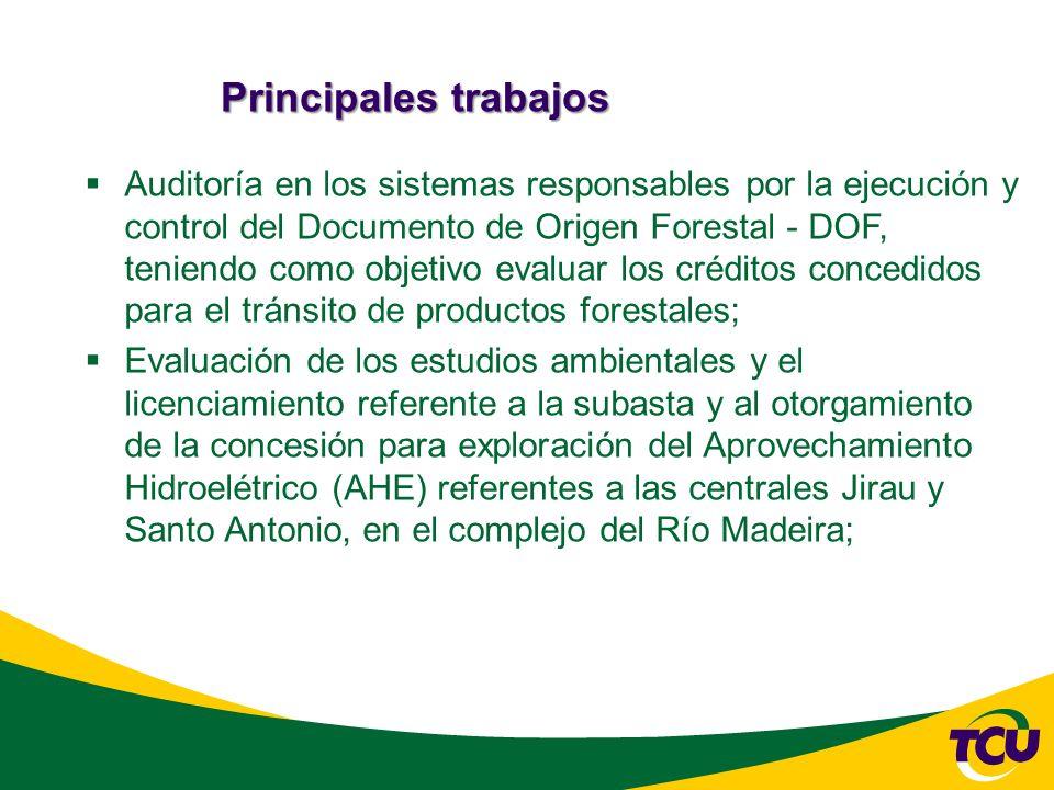 Principales trabajos Auditoría en los sistemas responsables por la ejecución y control del Documento de Origen Forestal - DOF, teniendo como objetivo evaluar los créditos concedidos para el tránsito de productos forestales; Evaluación de los estudios ambientales y el licenciamiento referente a la subasta y al otorgamiento de la concesión para exploración del Aprovechamiento Hidroelétrico (AHE) referentes a las centrales Jirau y Santo Antonio, en el complejo del Río Madeira;