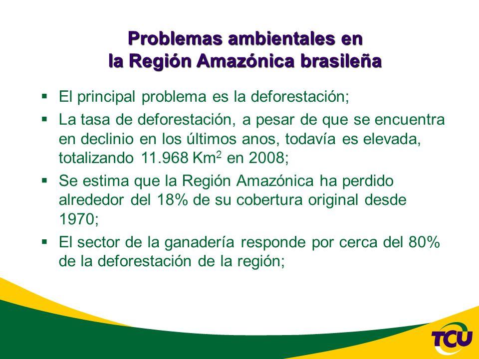 El principal problema es la deforestación; La tasa de deforestación, a pesar de que se encuentra en declinio en los últimos anos, todavía es elevada, totalizando 11.968 Km 2 en 2008; Se estima que la Región Amazónica ha perdido alrededor del 18% de su cobertura original desde 1970; El sector de la ganadería responde por cerca del 80% de la deforestación de la región;