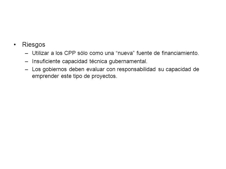 Riesgos –Utilizar a los CPP sólo como una nueva fuente de financiamiento.
