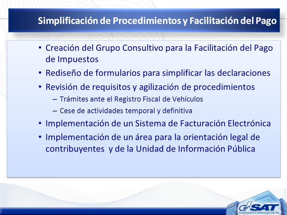 Creación del Grupo Consultivo para la Facilitación del Pago de Impuestos Rediseño de formularios para simplificar las declaraciones Revisión de requis