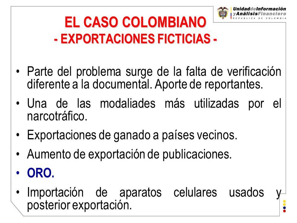 EL CASO COLOMBIANO - EXPORTACIONES FICTICIAS - Parte del problema surge de la falta de verificación diferente a la documental. Aporte de reportantes.