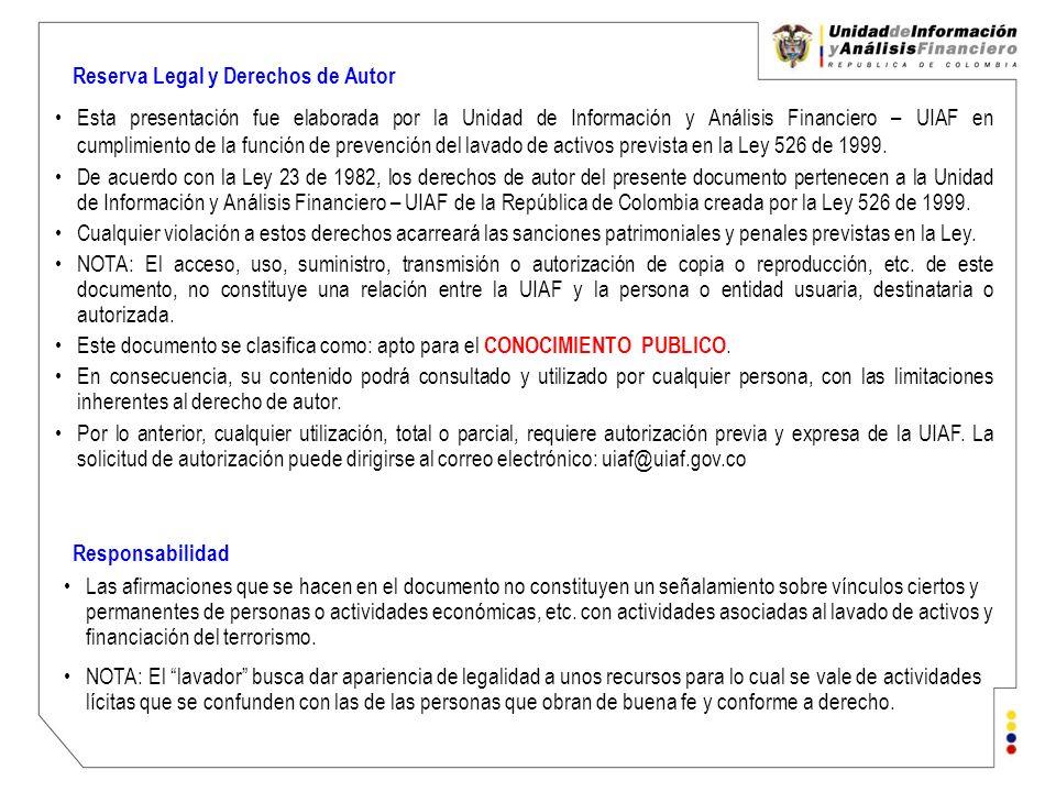 Reserva Legal y Derechos de Autor Esta presentación fue elaborada por la Unidad de Información y Análisis Financiero – UIAF en cumplimiento de la func