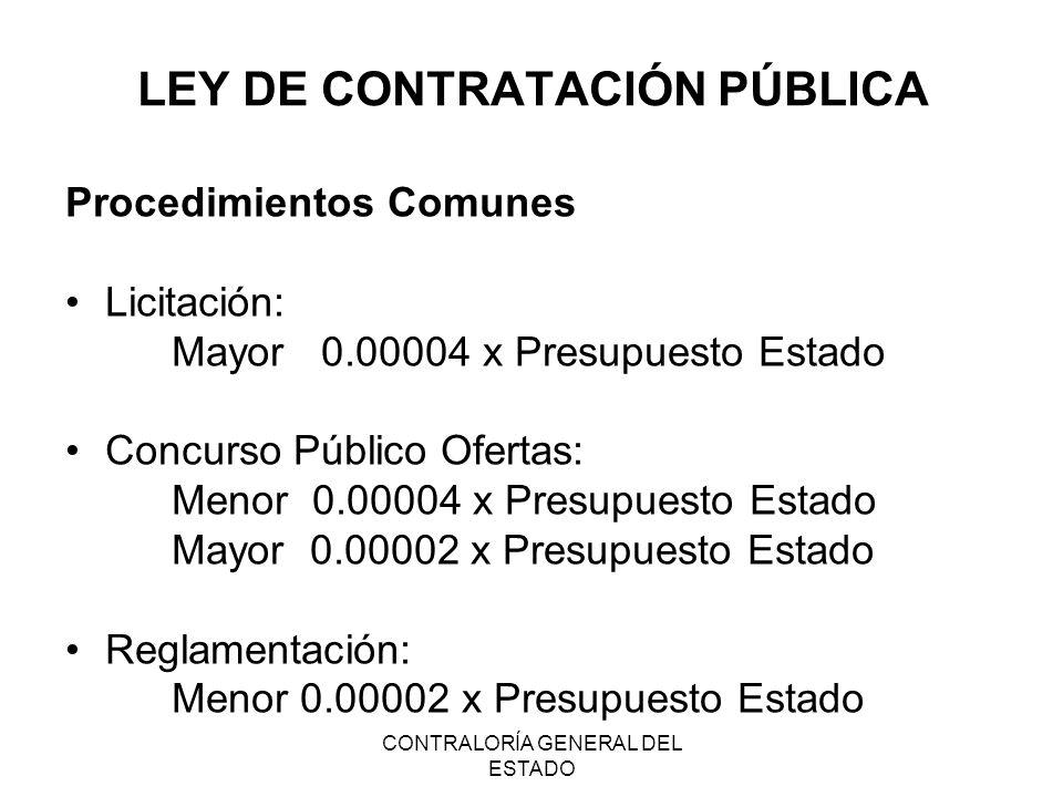 CONTRALORÍA GENERAL DEL ESTADO LEY DE CONTRATACIÓN PÚBLICA Procedimientos Comunes Licitación: Mayor 0.00004 x Presupuesto Estado Concurso Público Ofer