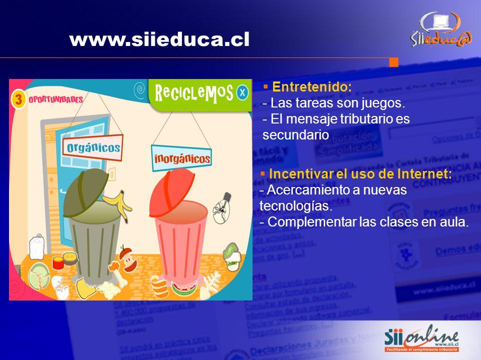 www.siieduca.cl Incentivar el uso de Internet: - Acercamiento a nuevas tecnologías. - Complementar las clases en aula. Entretenido: - Las tareas son j