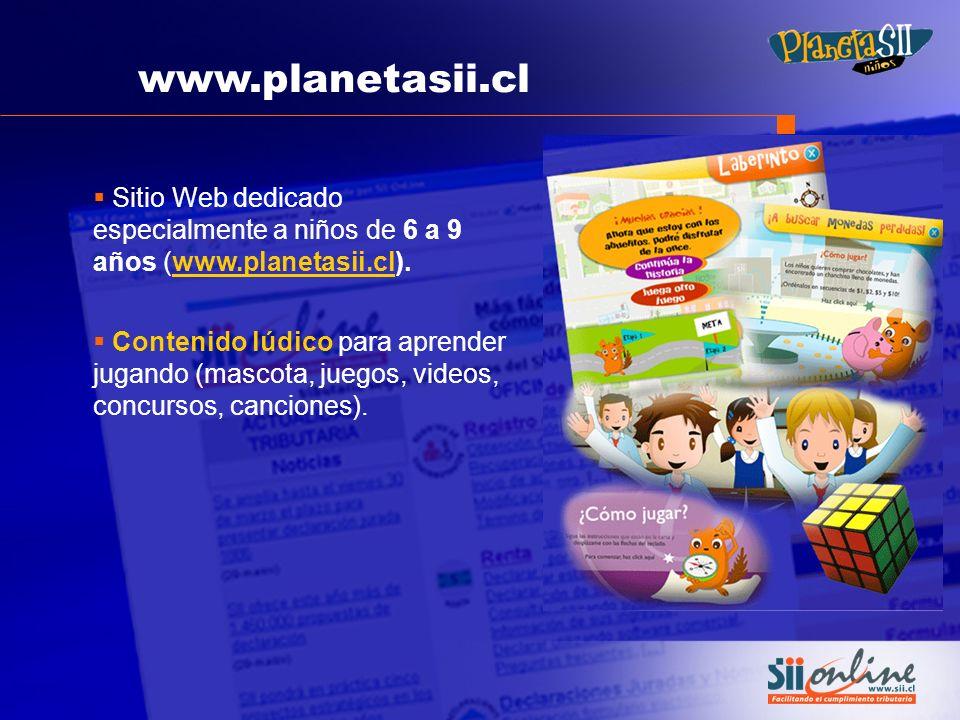 www.planetasii.cl Sitio Web dedicado especialmente a niños de 6 a 9 años (www.planetasii.cl).www.planetasii.cl Contenido lúdico para aprender jugando
