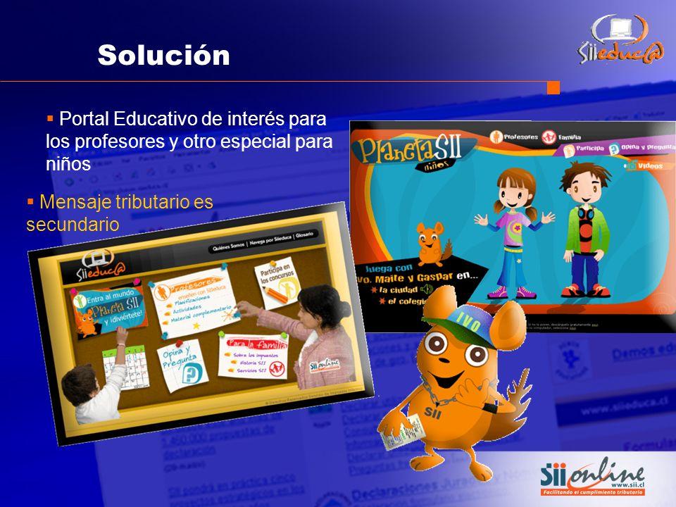 Solución Portal Educativo de interés para los profesores y otro especial para niños Mensaje tributario es secundario