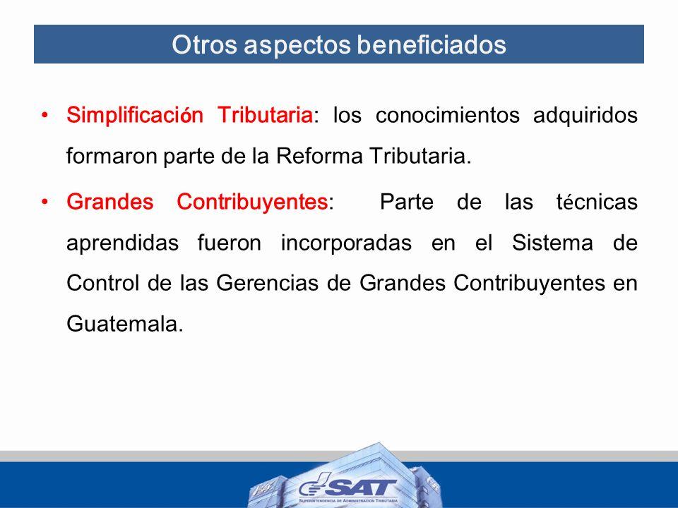 Otros aspectos beneficiados Simplificaci ó n Tributaria: los conocimientos adquiridos formaron parte de la Reforma Tributaria. Grandes Contribuyentes: