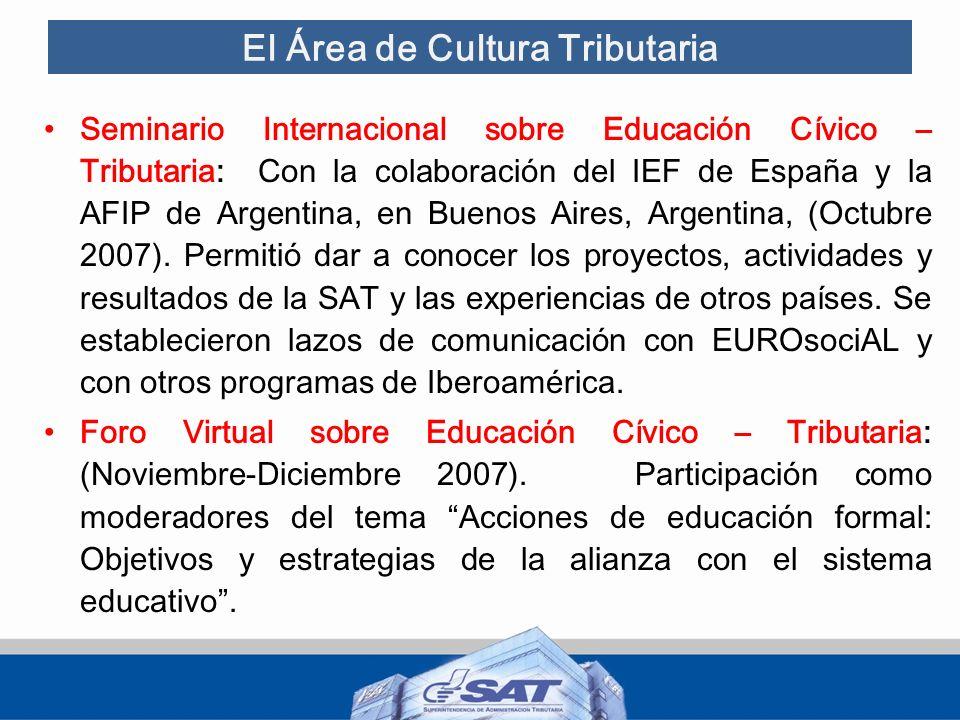 El Área de Cultura Tributaria Primer Encuentro de la Red Centroamericana y del Caribe sobre Educación Fiscal: organizado por el IEF y la SAT, con el apoyo de la AEAT y la AFIP de Argentina, en Antigua Guatemala (Marzo 2008).