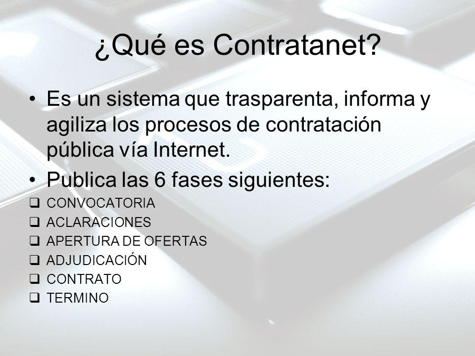 ¿Qué es Contratanet? Es un sistema que trasparenta, informa y agiliza los procesos de contratación pública vía Internet. Publica las 6 fases siguiente