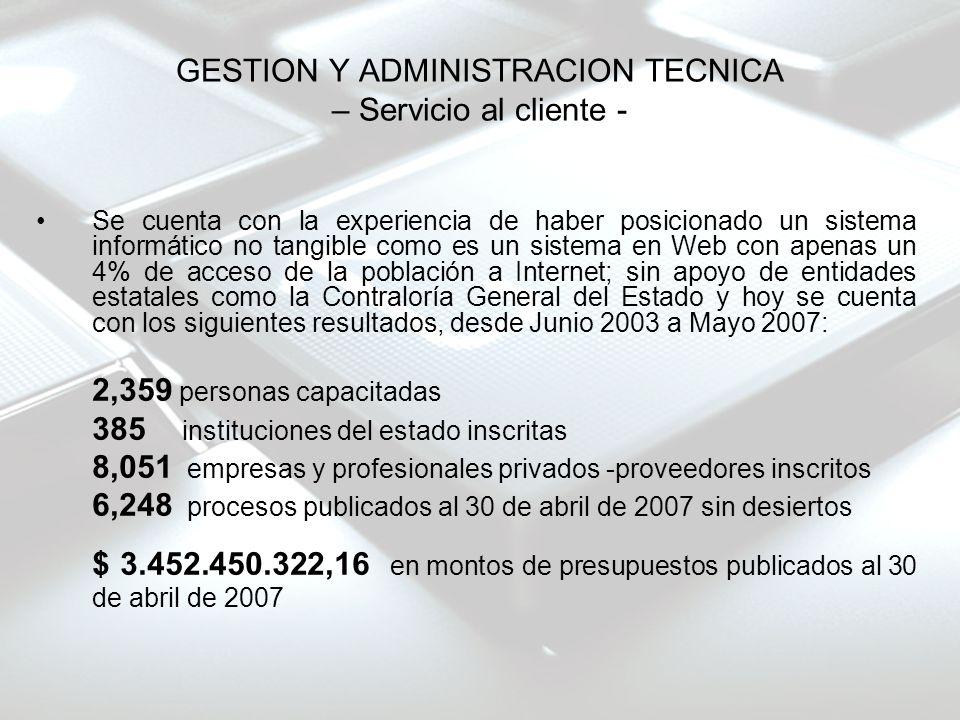 GESTION Y ADMINISTRACION TECNICA – Servicio al cliente - Se cuenta con la experiencia de haber posicionado un sistema informático no tangible como es