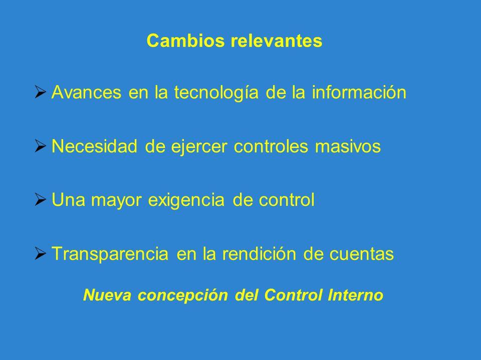 Cambios relevantes Avances en la tecnología de la información Necesidad de ejercer controles masivos Una mayor exigencia de control Transparencia en l