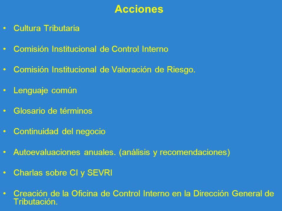 Acciones Cultura Tributaria Comisión Institucional de Control Interno Comisión Institucional de Valoración de Riesgo. Lenguaje común Glosario de térmi