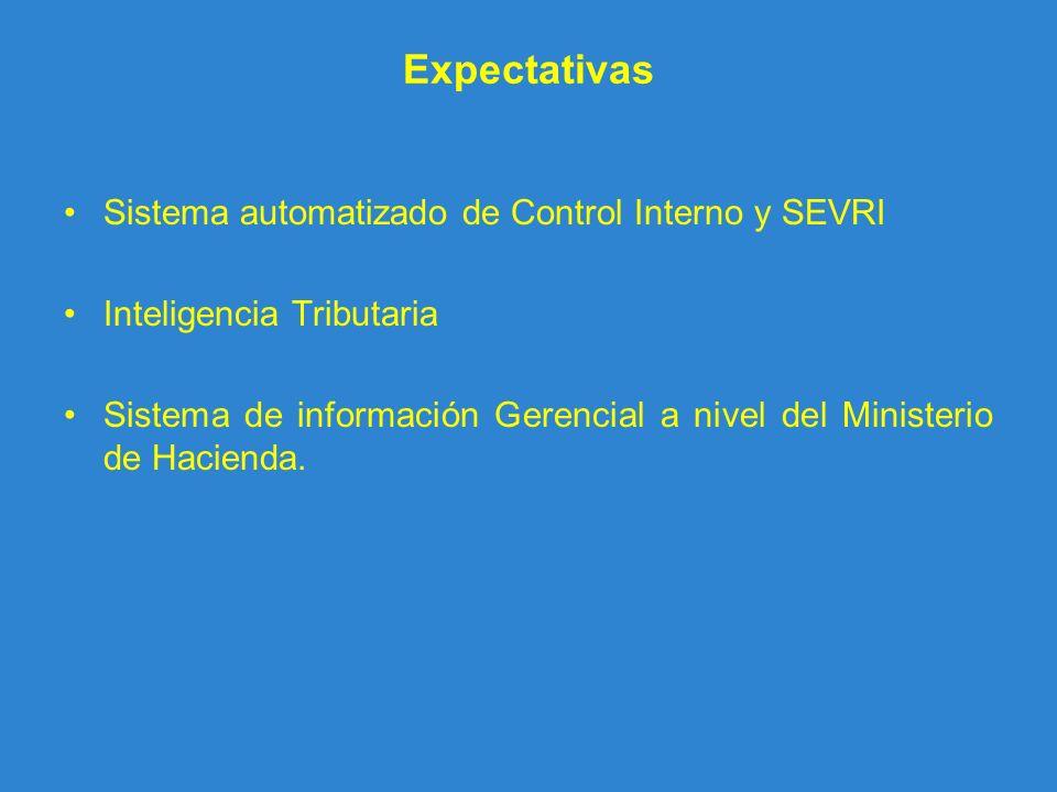 Expectativas Sistema automatizado de Control Interno y SEVRI Inteligencia Tributaria Sistema de información Gerencial a nivel del Ministerio de Hacien