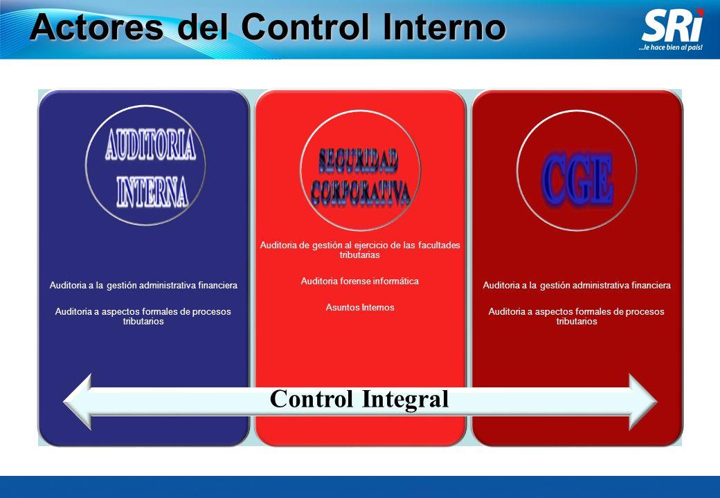 Actores del Control Interno Auditoria a la gestión administrativa financiera Auditoria a aspectos formales de procesos tributarios Auditoria de gestió
