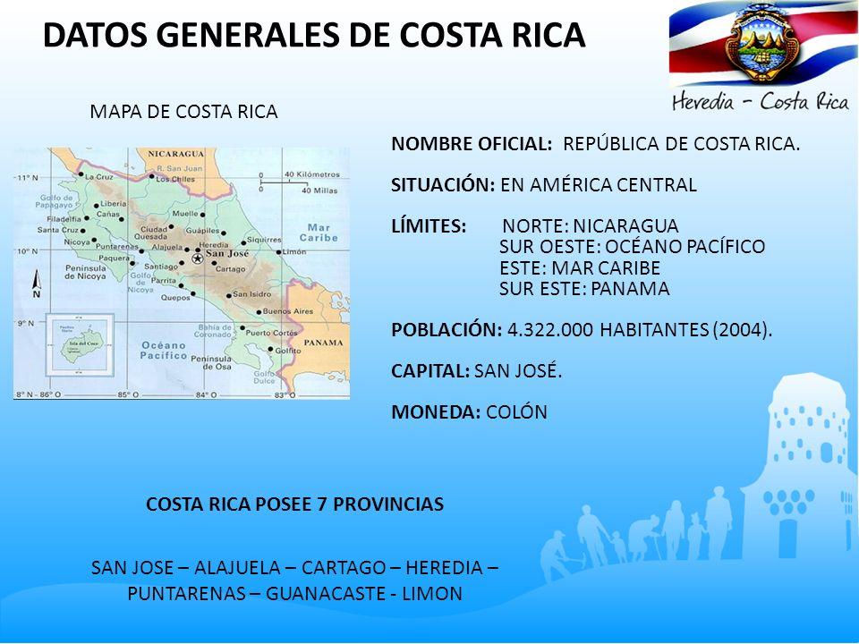DATOS GENERALES DE COSTA RICA MAPA DE COSTA RICA NOMBRE OFICIAL: REPÚBLICA DE COSTA RICA. SITUACIÓN: EN AMÉRICA CENTRAL LÍMITES: NORTE: NICARAGUA SUR