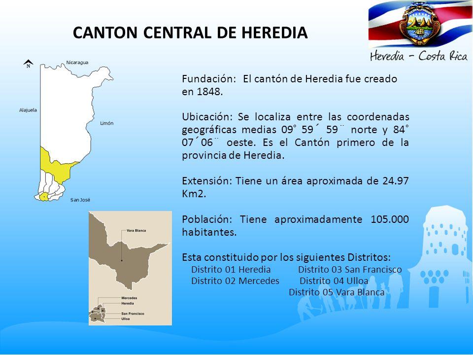 CANTON CENTRAL DE HEREDIA Fundación: El cantón de Heredia fue creado en 1848. Ubicación: Se localiza entre las coordenadas geográficas medias 09° 59´