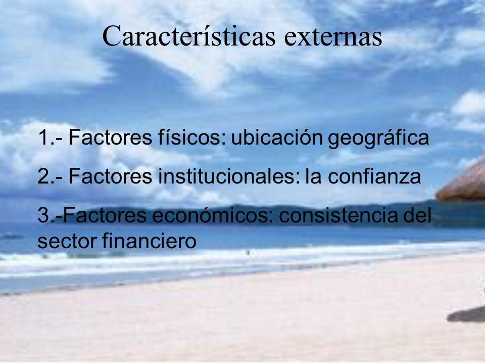 Características externas 1.- Factores físicos: ubicación geográfica 2.- Factores institucionales: la confianza 3.-Factores económicos: consistencia del sector financiero