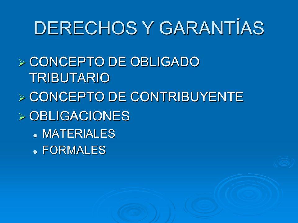 DERECHOS Y GARANTÍAS CONCEPTO DE OBLIGADO TRIBUTARIO CONCEPTO DE OBLIGADO TRIBUTARIO CONCEPTO DE CONTRIBUYENTE CONCEPTO DE CONTRIBUYENTE OBLIGACIONES