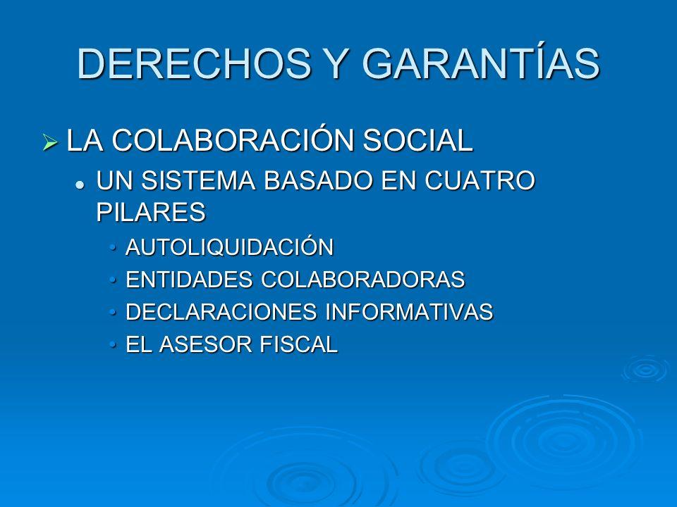 DERECHOS Y GARANTÍAS LA COLABORACIÓN SOCIAL LA COLABORACIÓN SOCIAL UN SISTEMA BASADO EN CUATRO PILARES UN SISTEMA BASADO EN CUATRO PILARES AUTOLIQUIDA
