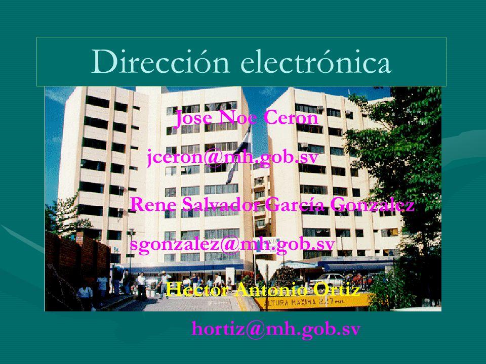 Dirección electrónica Jose Noe Ceron jceron@mh.gob.sv Rene Salvador García Gonzalez sgonzalez@mh.gob.sv Hector Antonio Ortiz hortiz@mh.gob.sv