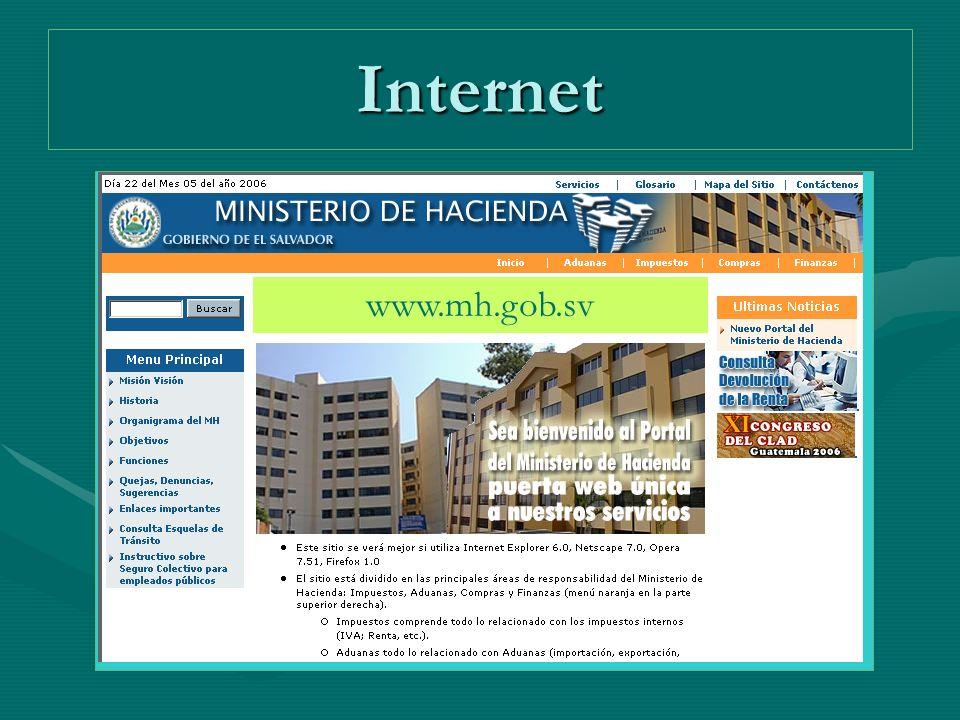 Internet www.mh.gob.sv
