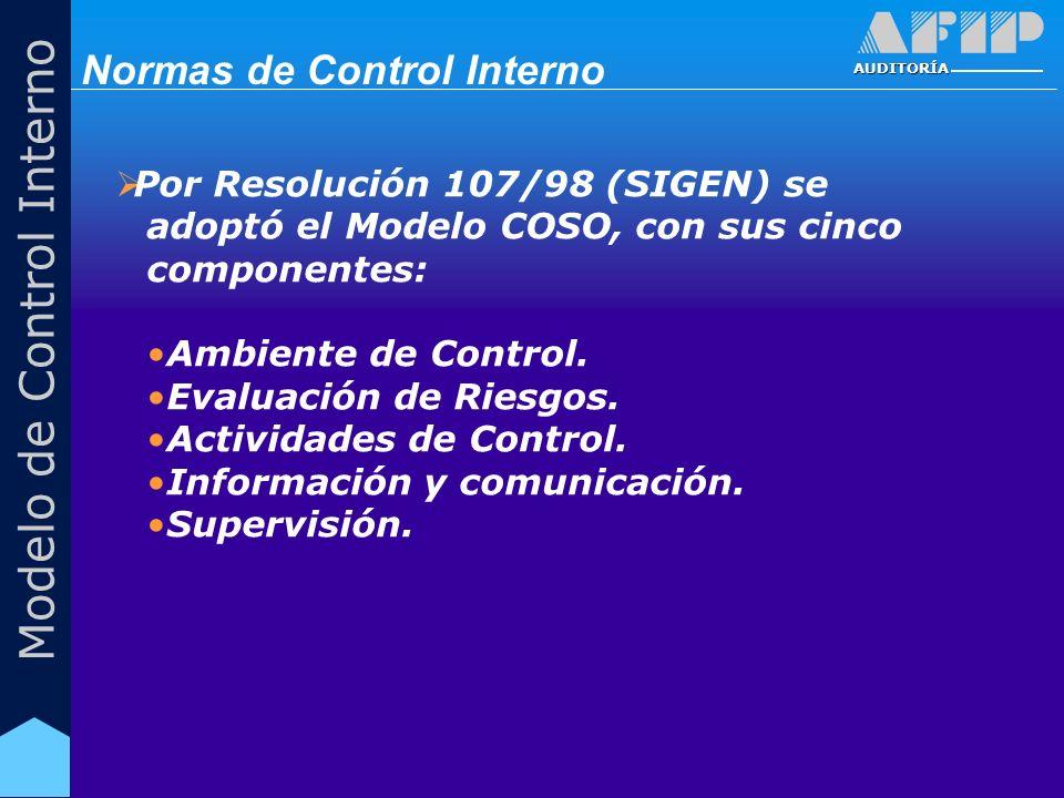 AUDITORÍA Modelo de Control Interno Por Resolución 107/98 (SIGEN) se adoptó el Modelo COSO, con sus cinco componentes: Ambiente de Control. Evaluación