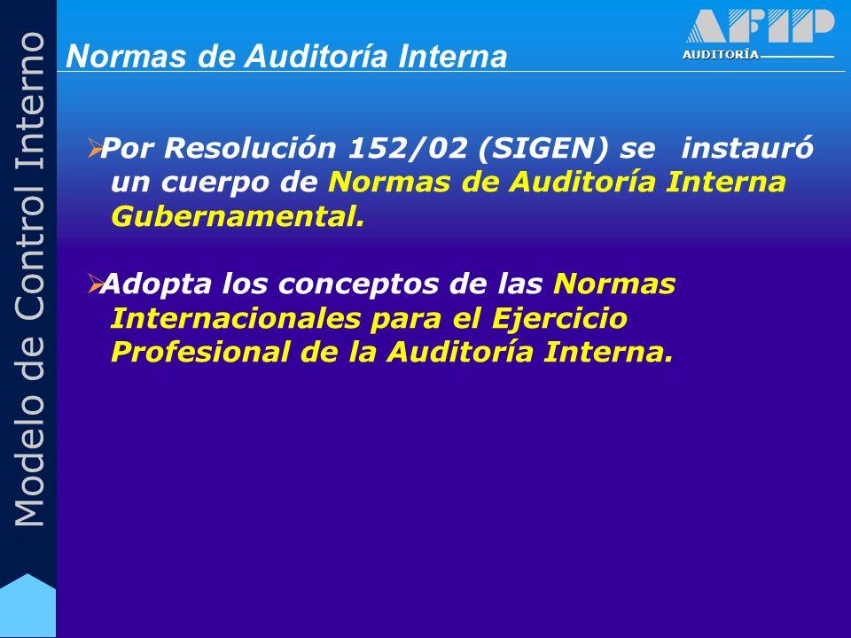 AUDITORÍA Modelo de Control Interno Por Resolución 152/02 (SIGEN) se instauró un cuerpo de Normas de Auditoría Interna Gubernamental. Adopta los conce
