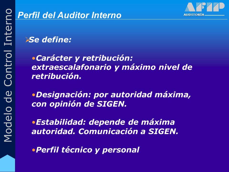 AUDITORÍA Modelo de Control Interno Se define: Carácter y retribución: extraescalafonario y máximo nivel de retribución. Designación: por autoridad má