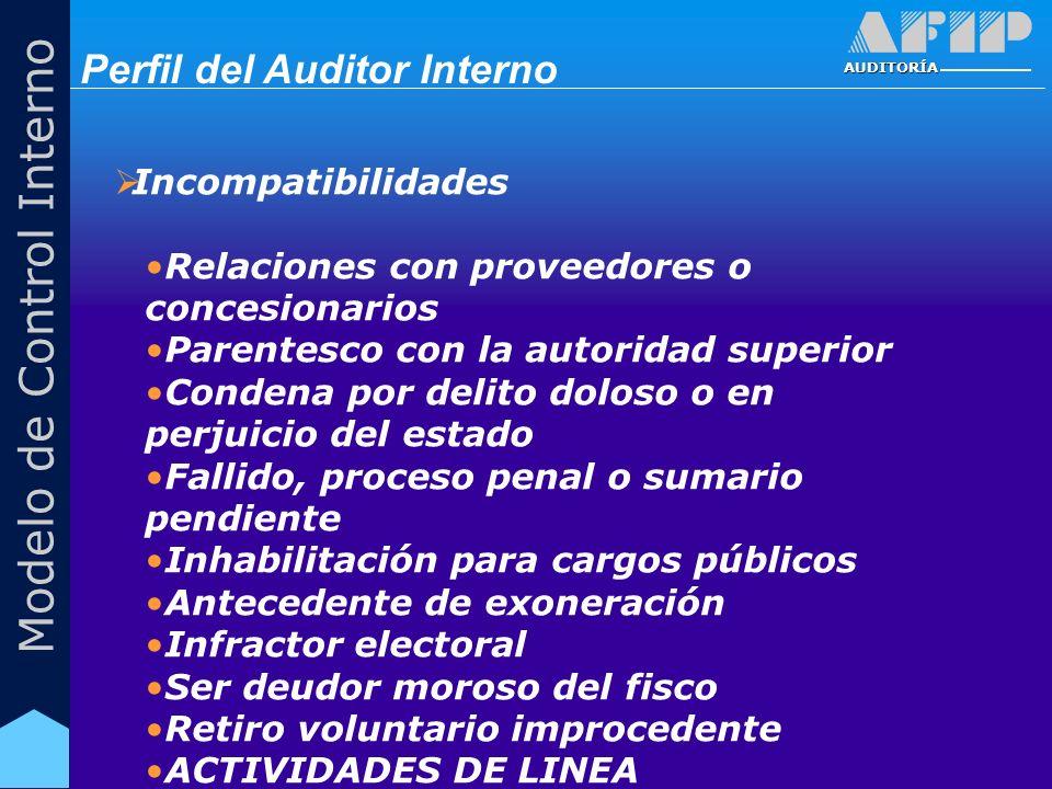 AUDITORÍA Modelo de Control Interno Incompatibilidades Relaciones con proveedores o concesionarios Parentesco con la autoridad superior Condena por de