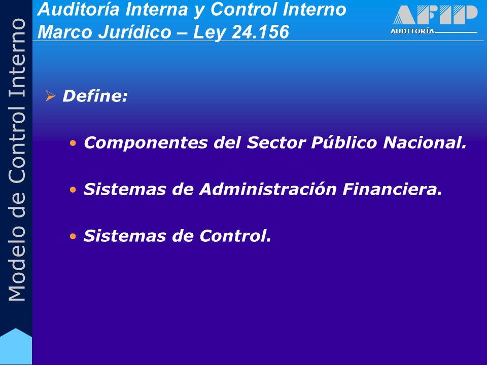AUDITORÍA Modelo de Control Interno Auditoría Interna y Control Interno Marco Jurídico – Ley 24.156 Define: Componentes del Sector Público Nacional. S