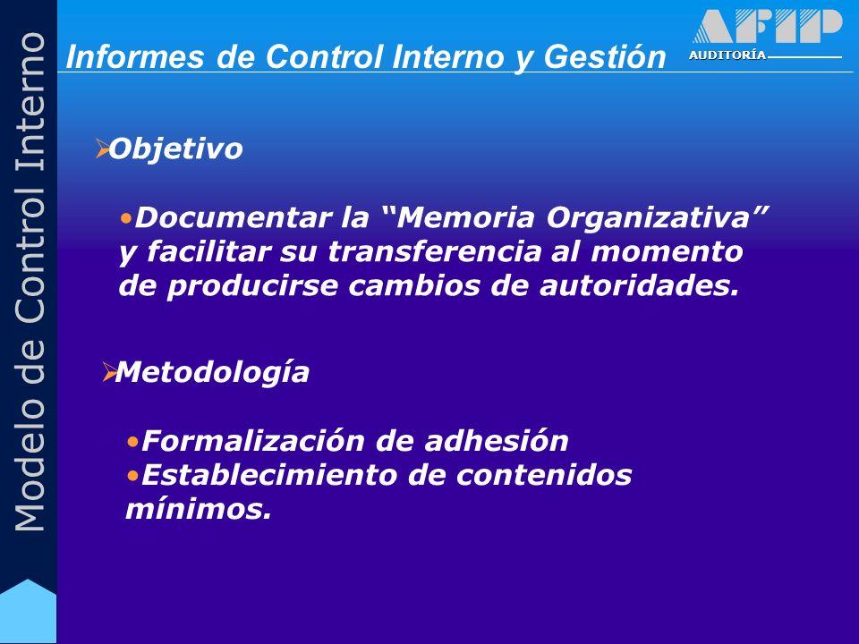 AUDITORÍA Modelo de Control Interno Objetivo Documentar la Memoria Organizativa y facilitar su transferencia al momento de producirse cambios de autoridades.
