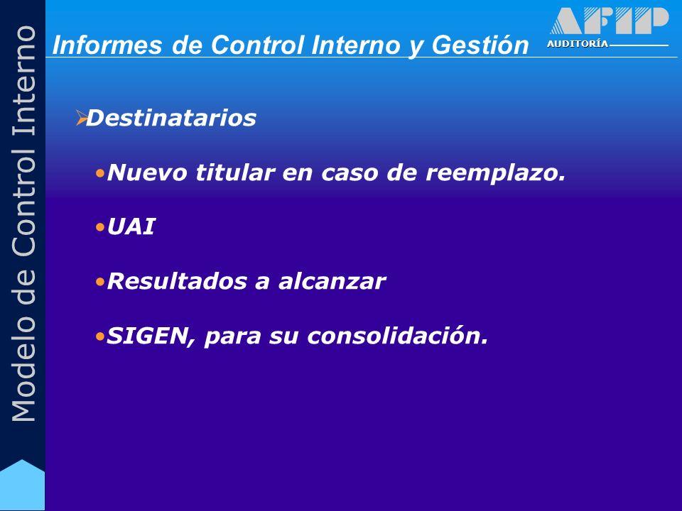 AUDITORÍA Modelo de Control Interno Destinatarios Nuevo titular en caso de reemplazo. UAI Resultados a alcanzar SIGEN, para su consolidación. Informes