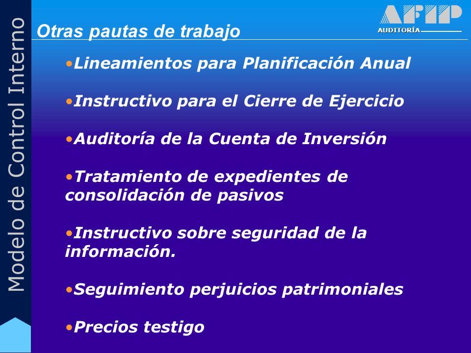 AUDITORÍA Modelo de Control Interno Lineamientos para Planificación Anual Instructivo para el Cierre de Ejercicio Auditoría de la Cuenta de Inversión