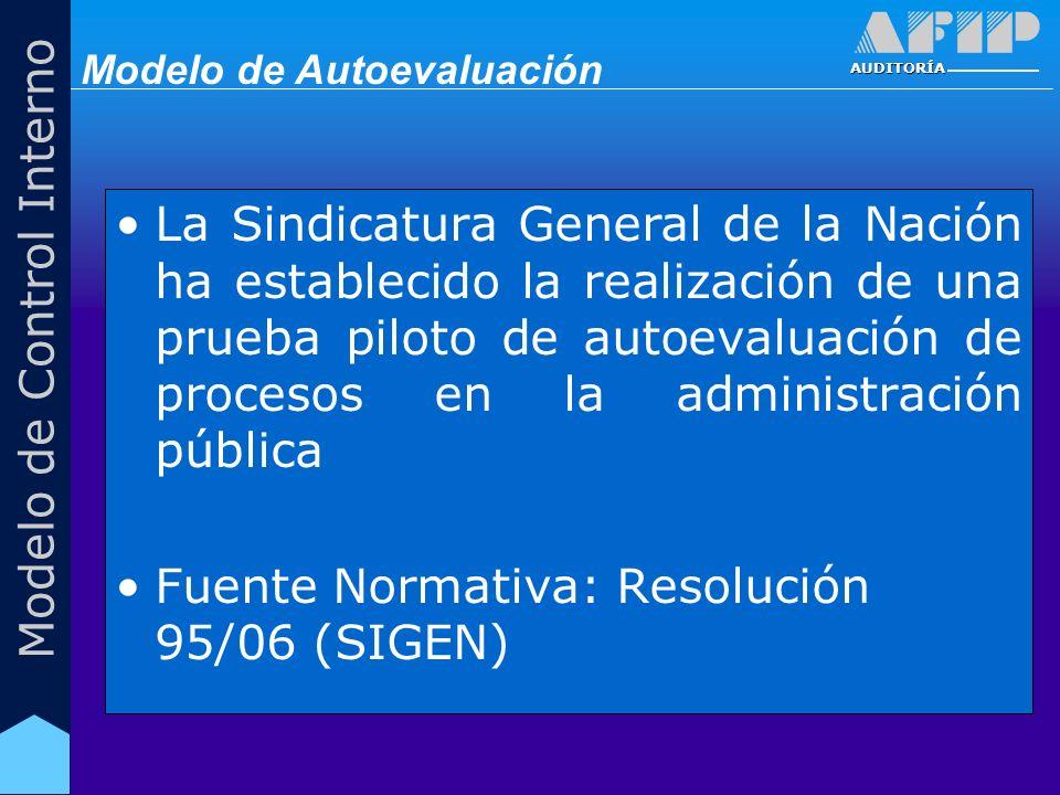 AUDITORÍA Modelo de Control Interno La Sindicatura General de la Nación ha establecido la realización de una prueba piloto de autoevaluación de procesos en la administración pública Fuente Normativa: Resolución 95/06 (SIGEN) Modelo de Autoevaluación